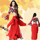 Two Colors Colorful Printing Belly Dancewear Long Sleeve Crop Top And Skirts
