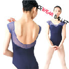 Short Sleeve Deep Open Back Mesh  Dancewear Ballet Leotard