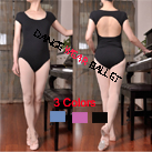 Short Sleeve Open Back Dancewear Ballet Leotard