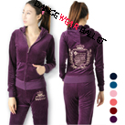 Embroidery Crown Velour Tracksuit Hoodie Sports Wear