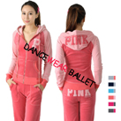 Contrast Color Embroidery Velour Tracksuit Hoodie Sports Wear