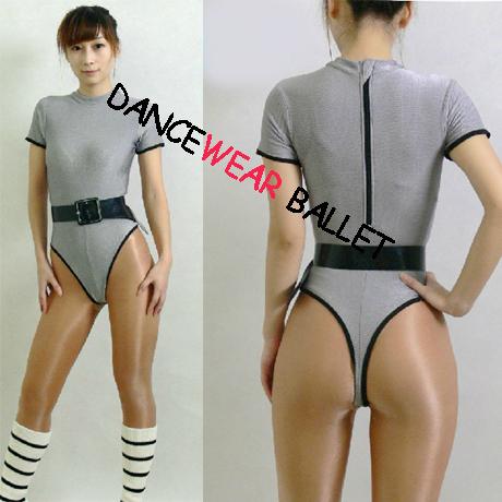 Short sleeve back zipper shiny gymnastic leotard gymnastic leotards